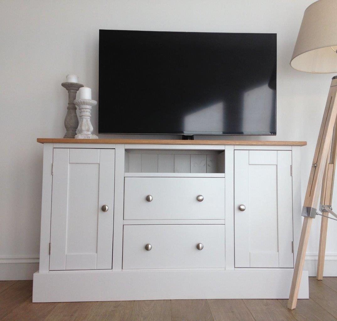 New Solid Pine & Oak 4ft TV Unit Stand Cabinet Painted Shabby Chic Sidebo # Oak Tv Sideboard Unit