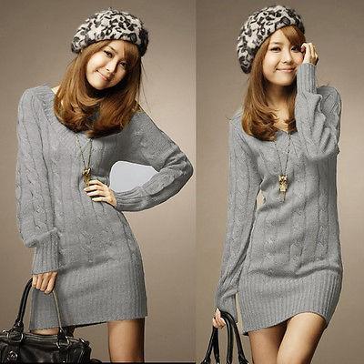 Winter Women V Neck Knitted Sweater Jumper Pullover Knitwear Long Mini Dress Top