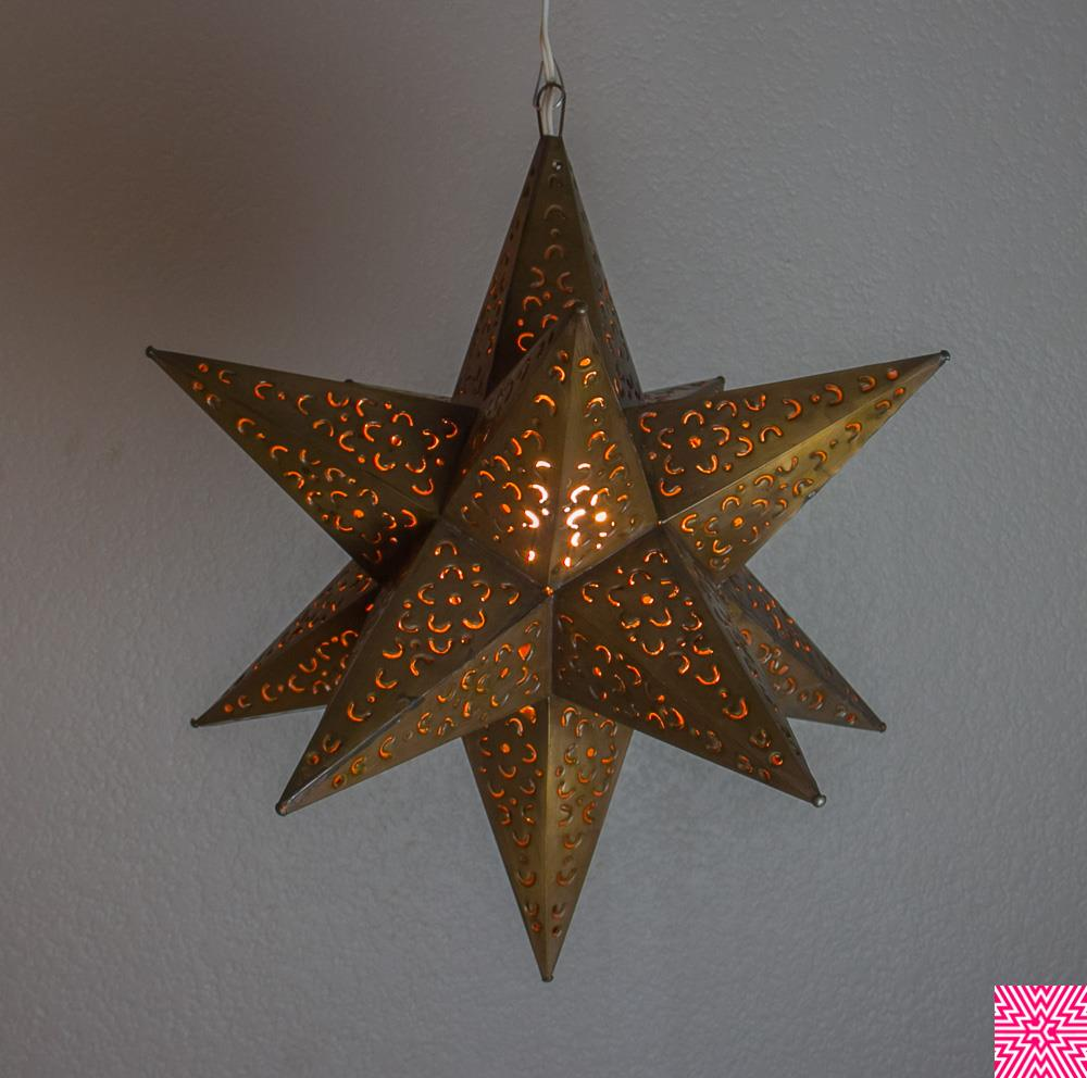 Moravian Star Punched Metal Tin Pendant Light Lamp Hanging