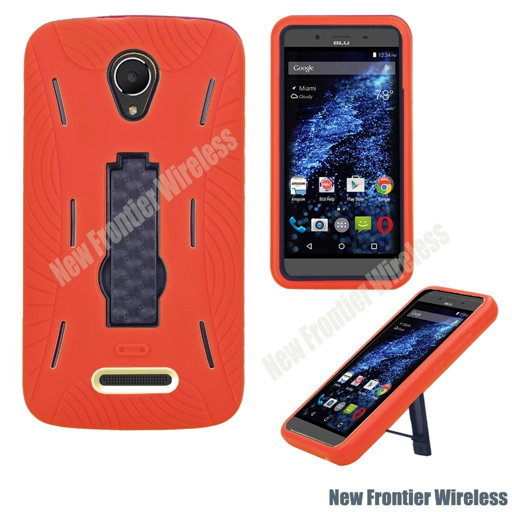 For BLU Studio G LTE S0030U Heavy Duty Hybrid Armor Dual Layer Kickstand Case