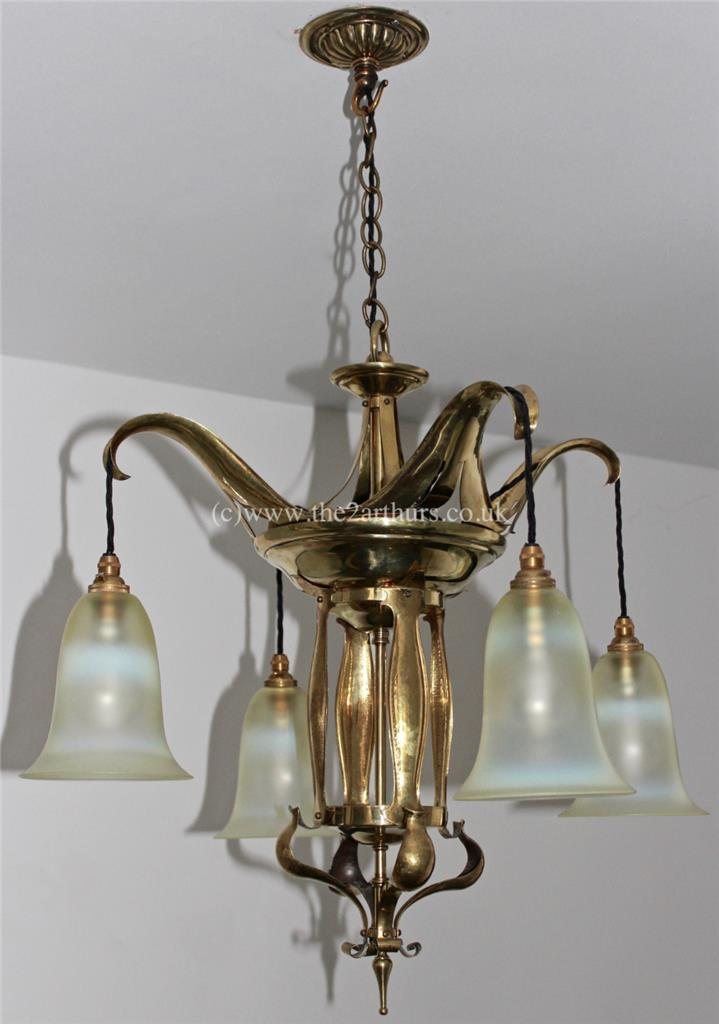 WAS Benson style Arts and Crafts Antique Brass Chandelier