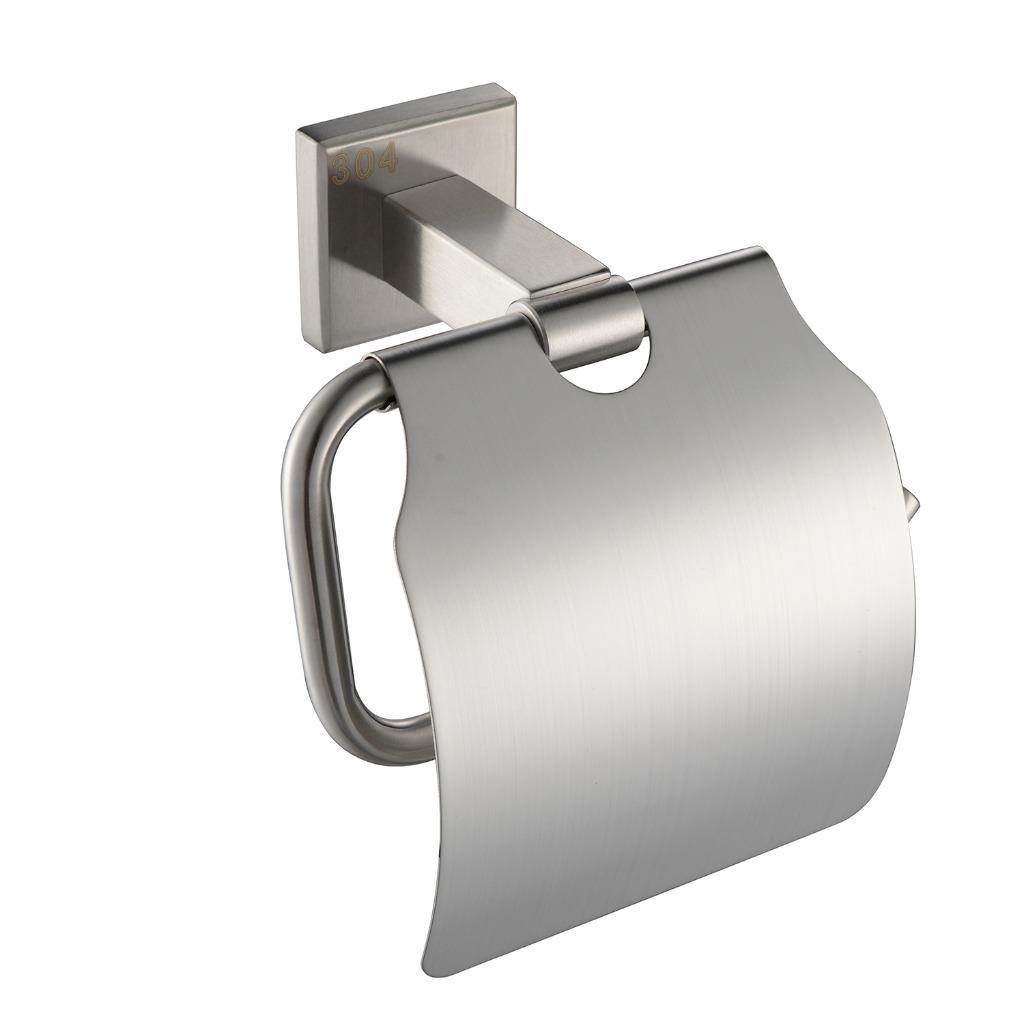 sus 304 stainless steel toilet paper holder square single roll brushed nickel ebay. Black Bedroom Furniture Sets. Home Design Ideas