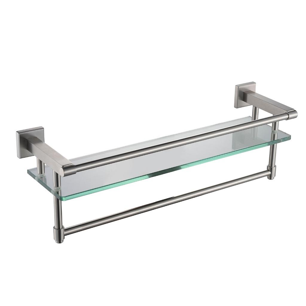 sus 304 stainless steel double towel bar square wall shelf rack brushed nickel ebay. Black Bedroom Furniture Sets. Home Design Ideas