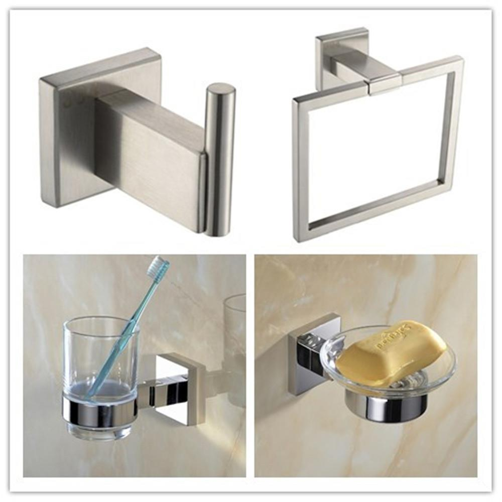 304 stainless steel square modern chrome bathroom wall accessories towel ring for Stainless steel bathroom accessories