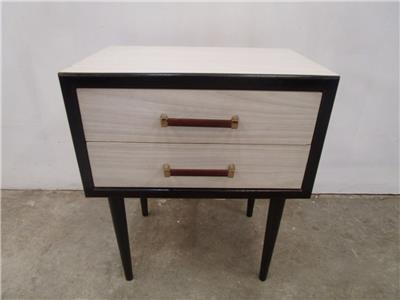 C51007 single funky retro white 2 drawer bedside table ebay for Funky bedside tables