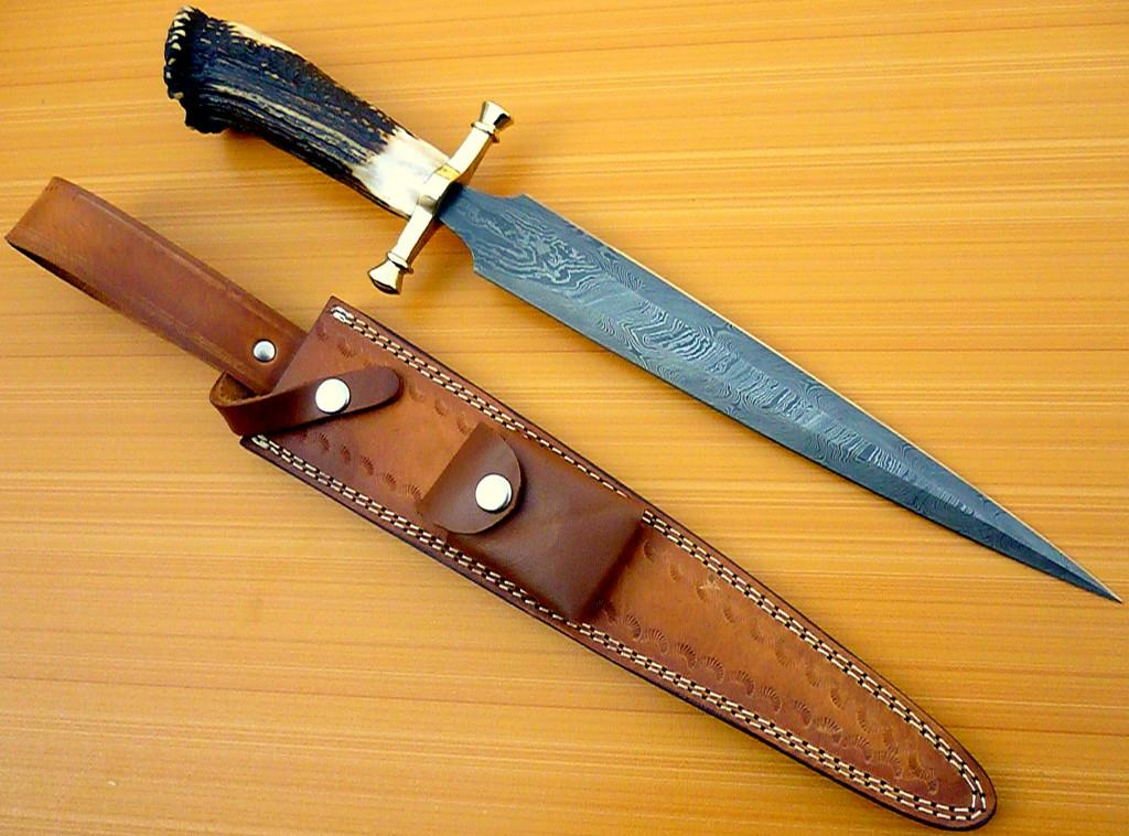 CUSTOM DAMASCUS STEEL BOWIE KNIFE / SWORD / STAG CROWN