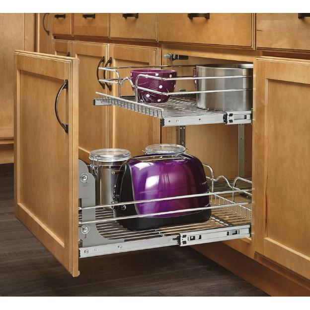 A Shelf 58 15c 5 Chrome Pull Out Basket: Kitchen Metal Rack Pull Out Cabinet Basket 2 Tier Shelf