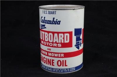 Unopened vintage 1 qt quart columbia outboard motor lawn for How long does motor oil last