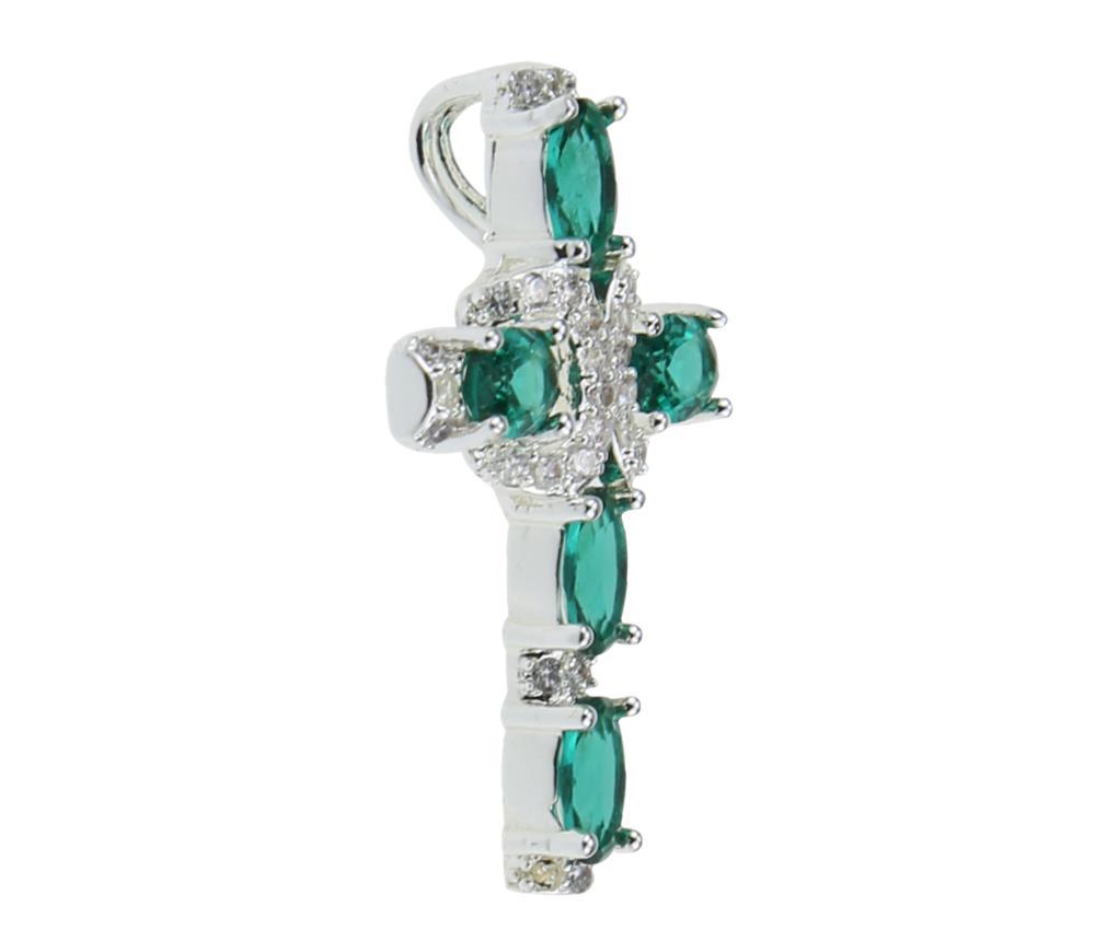925 sterling silver cross emerald gemstone pendant jewelry