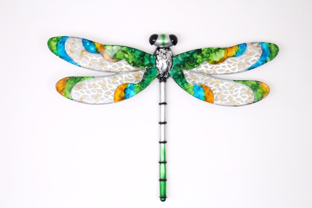 Handcrafted metal wall decoration large hang dragonfly for Dragonfly mural
