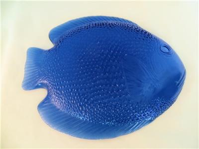 Blue glass fish serving plate platter ebay for Fish plates near me