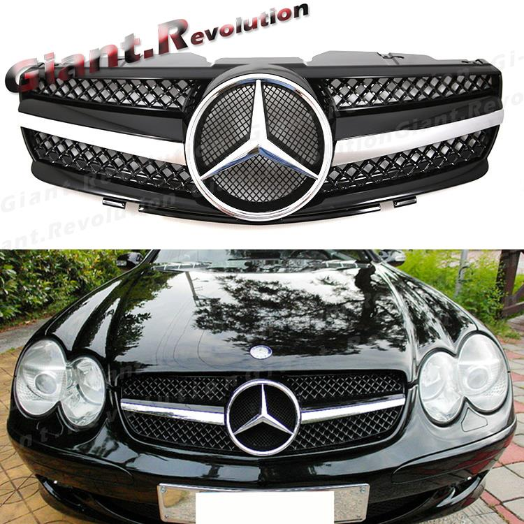 2003 Mercedes Benz Sl Class Exterior: SL63 Type Shiny Black 1 Fin Front Replaced Grille For 03