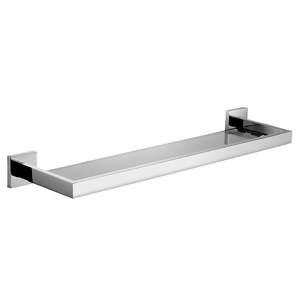 bathroom tempered glass shelf wall mount stainless steel 24 inch long polished. Black Bedroom Furniture Sets. Home Design Ideas