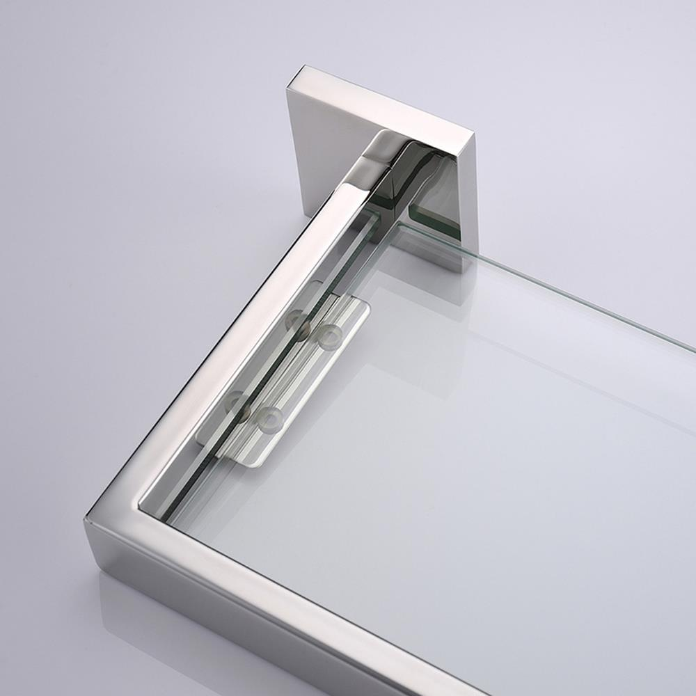 Bathroom Tempered Glass Shelf Wall Mount Stainless Steel 24 Inch Long Polished