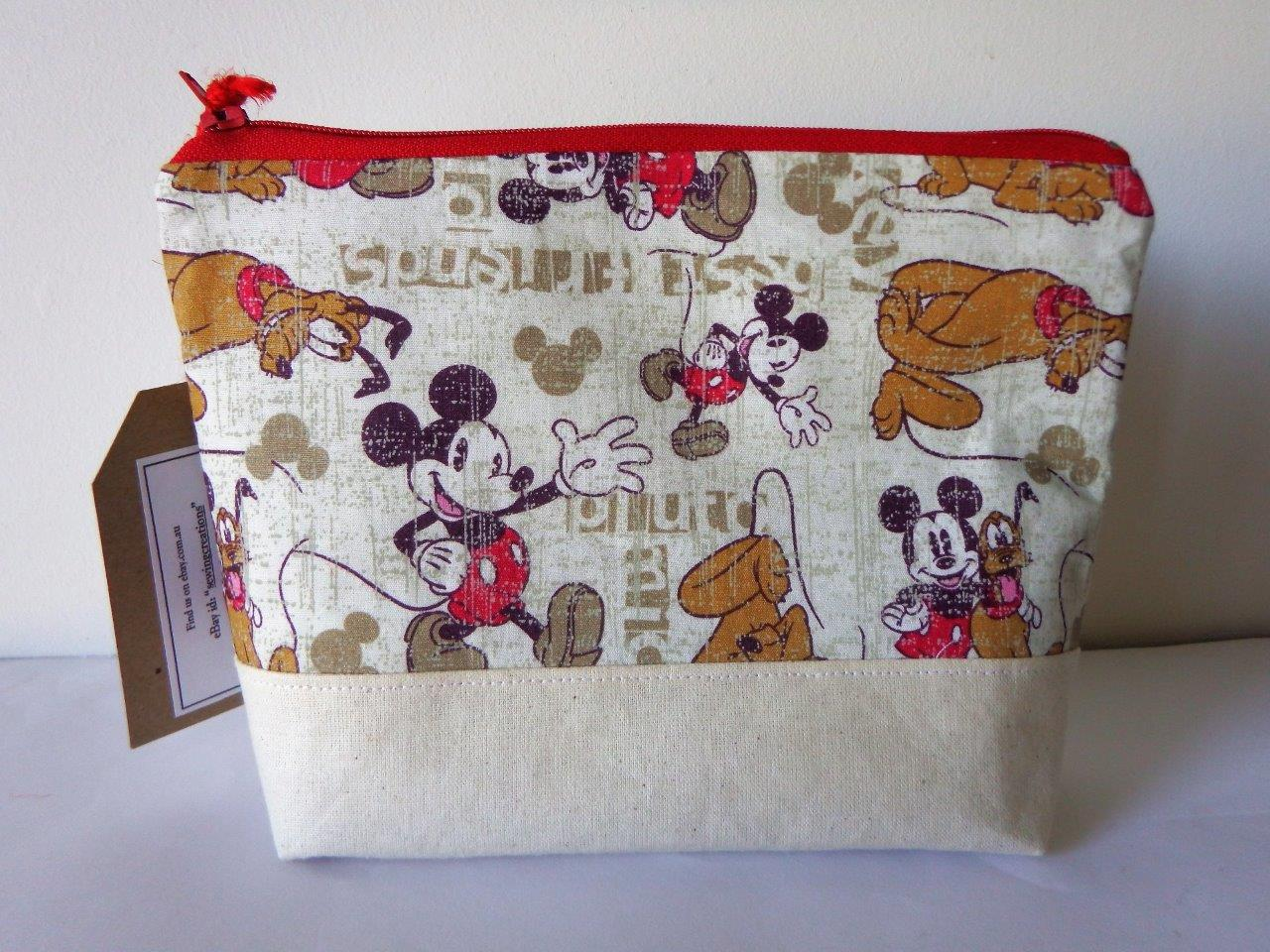 Brand-New-Home-Made-Fabric-Cosmetic-Accessory-Pouch-Mickey-Mouse-Fabric-Pattern