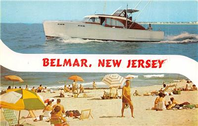 Belmar nj new jersey fishing boat beachgoers sunbathing for Belmar nj fishing