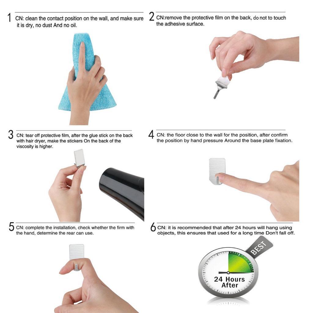 4x handtuchhaken edelstahl selbstklebend handtuchhalter. Black Bedroom Furniture Sets. Home Design Ideas