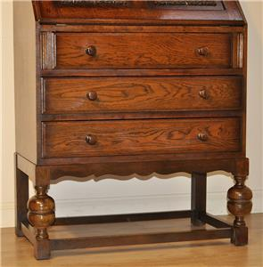 attractive vintage linen fold carved oak bureau writing. Black Bedroom Furniture Sets. Home Design Ideas