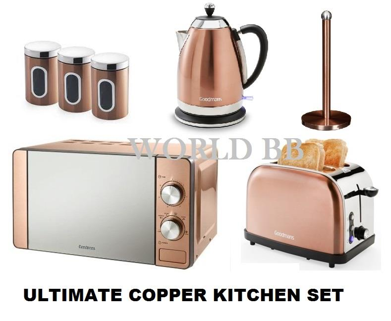 Copper bronze microwave toaster kettle canister kitchen for Kitchen set kettle toaster microwave