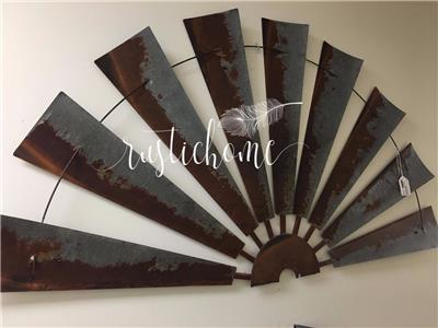 60 inch half size metal rustic windmill country farm barn ranch wall home decor. Black Bedroom Furniture Sets. Home Design Ideas