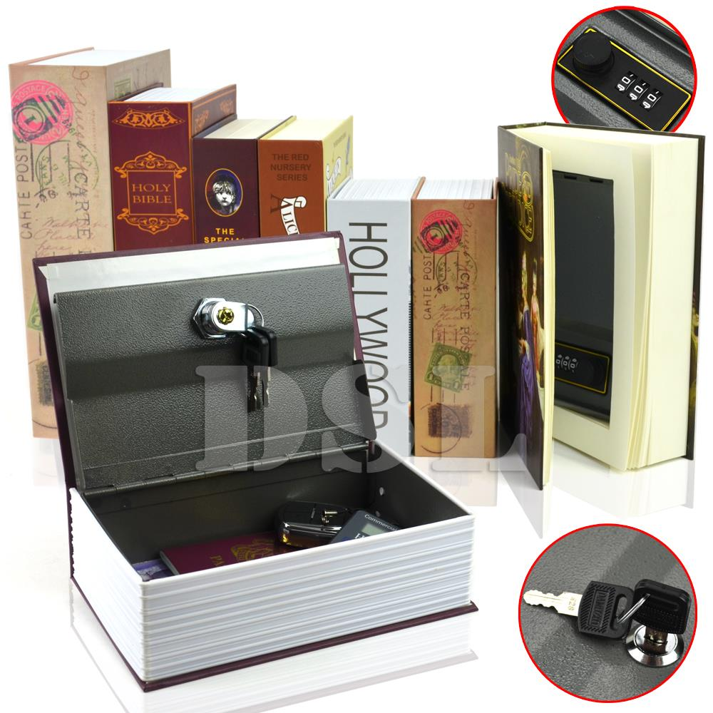 Homesafe real book safe key combination metal security for Home money box