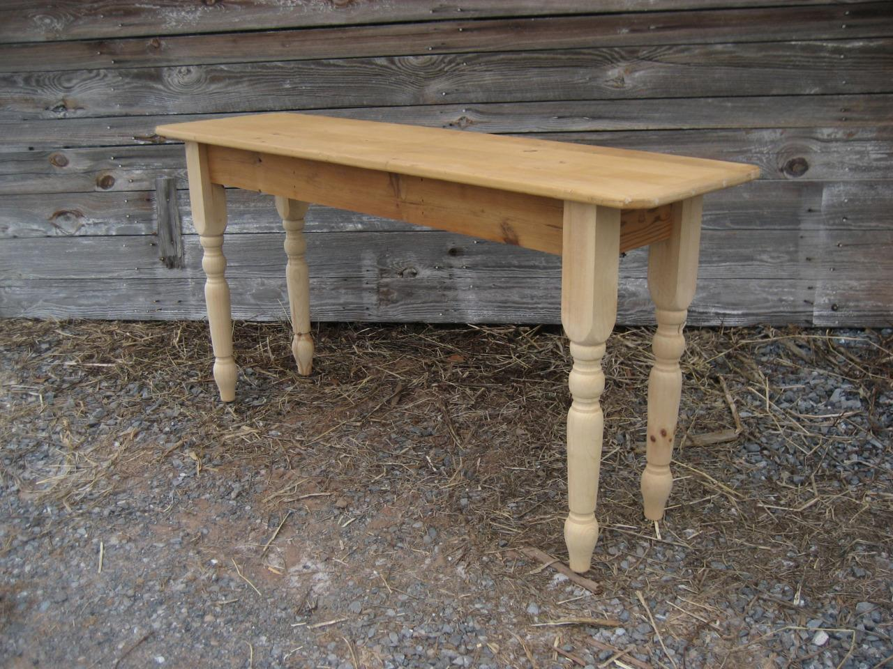 Amish Made Reclaimed Barnwood Turn Leg Sofa Table
