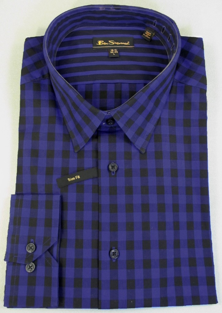 Ben-Sherman-Mens-Mod-Trim-Fit-Cotton-Checked-Dress-Shirt-Black-Royal-Blue