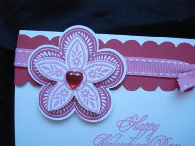 Valentines Day Card Stampin Up Red Hearts Martha Stewart EK Punch