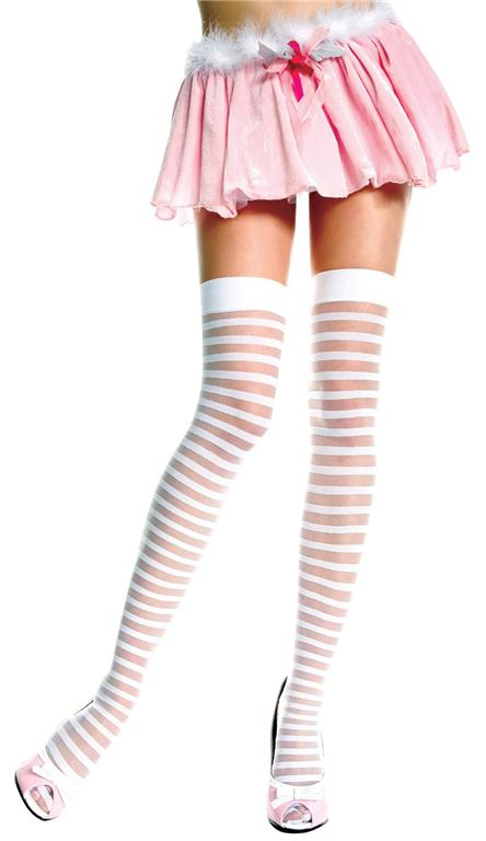 Pink-White-Black-Blue-Sheer-Opaque-Stripe-Nylon-Stockings-Sexy-Lingerie-P1005