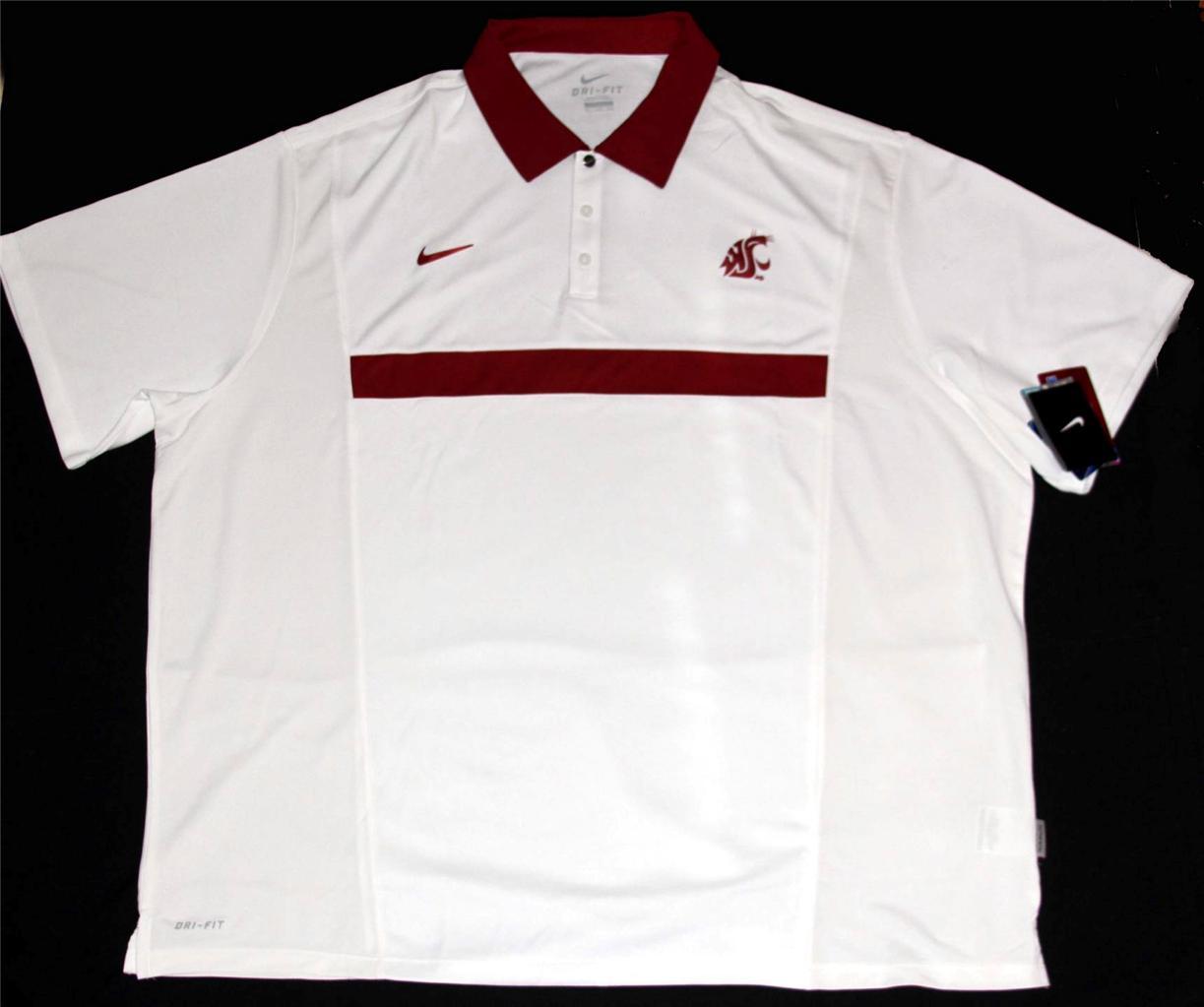 Nike washington state university cougars dri fit white for Maroon dri fit polo shirt