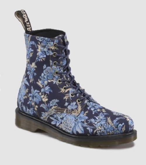 doc martens jouy floral fine canvas blue or cherry red beckett boots nwot wms ebay. Black Bedroom Furniture Sets. Home Design Ideas