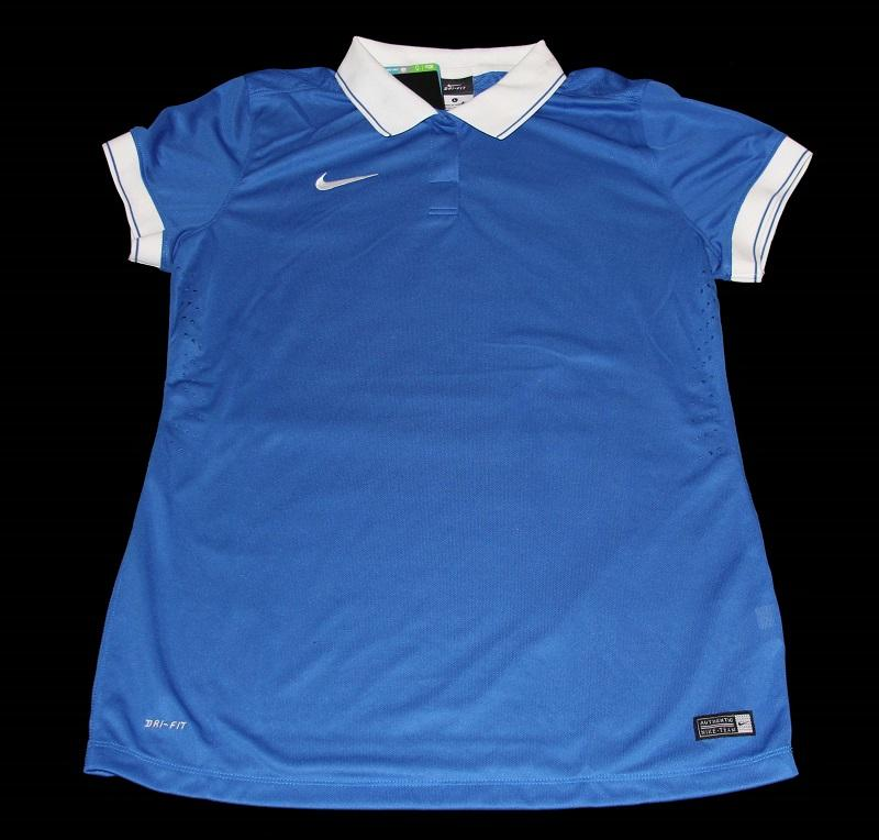 Nike dri fit royal blue white golf soccer polo collar for Dri fit collar shirts