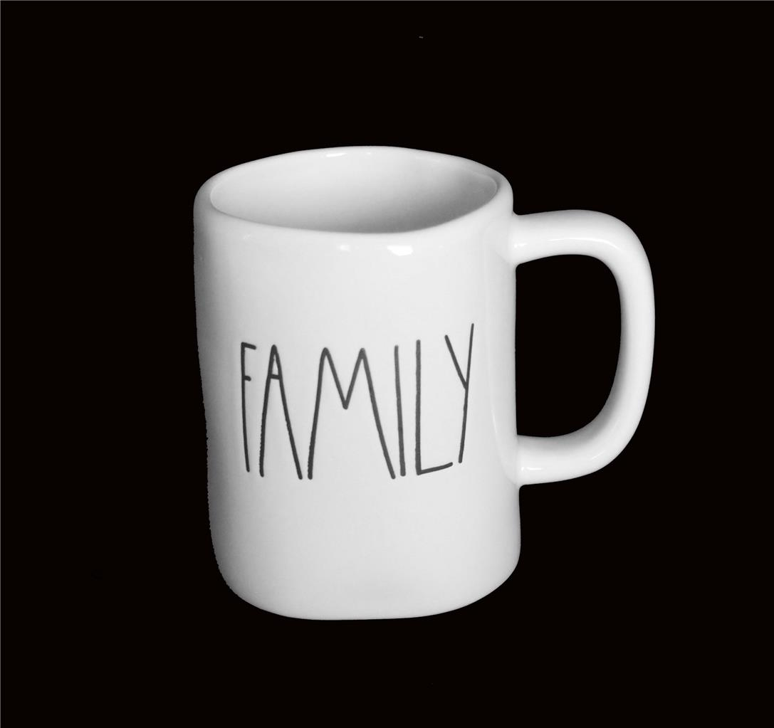 Lrg Rae Dunn Script White Black Red Uneven Unique Mug