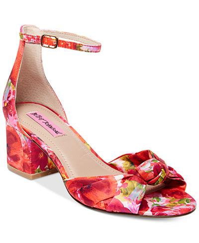 Betsey Johnson Chic Bright Floral Roses Ankle Strap Block Heel Wms Sandales NEU