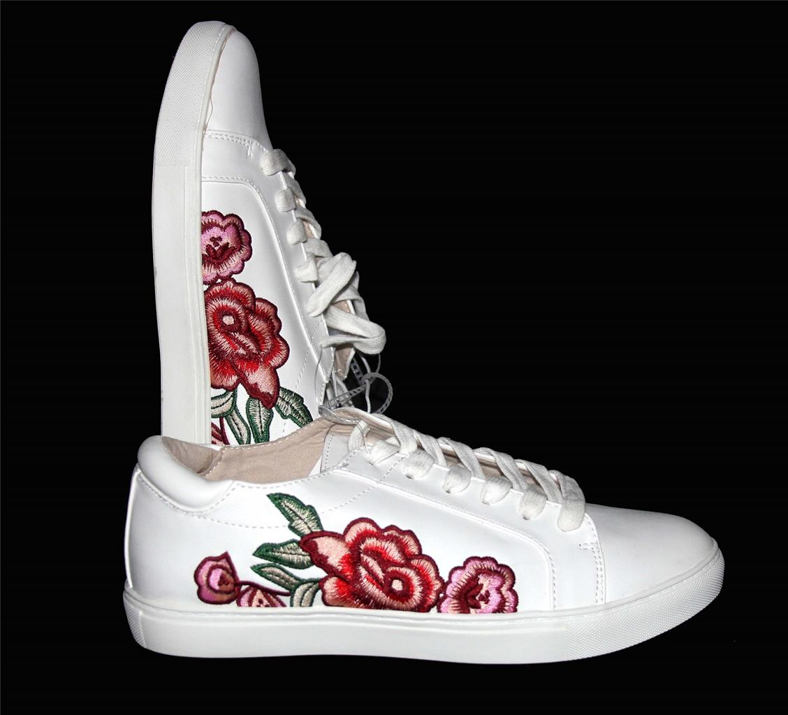 Kenneth cole joey white embroidered roses flowers sneakers