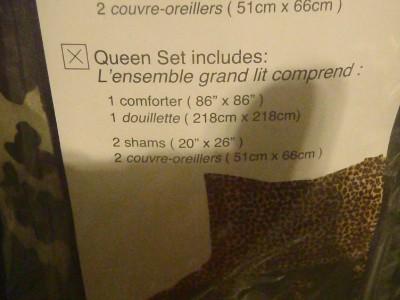 Playboy Bunny Queen Leopard Black Animal Print Comforter Sham 3 Piece New