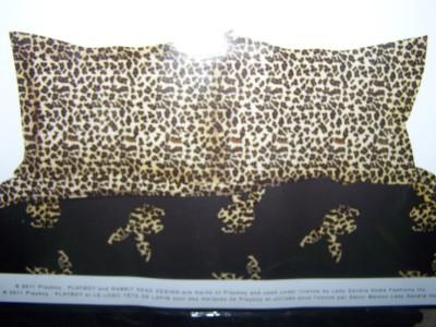 Playboy Bunny Full Leopard Black Animal Print Comforter Sheet Set 7 Piece New
