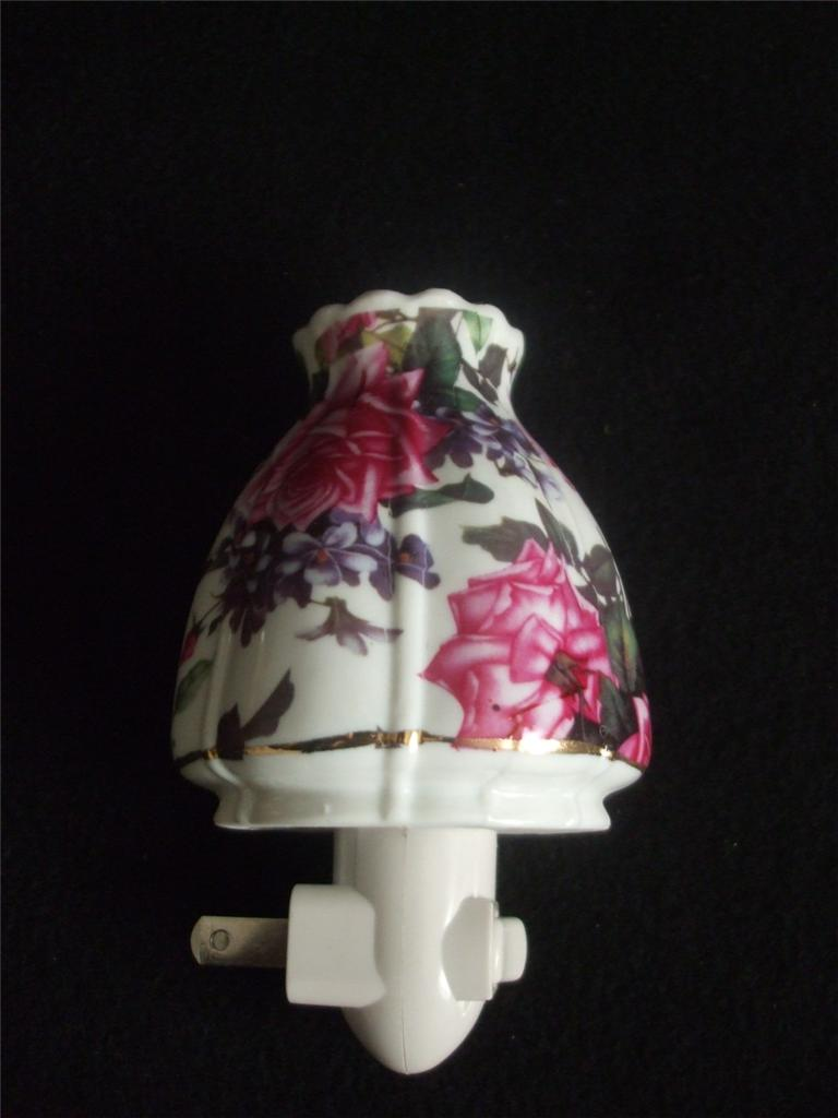ceramic night light hurricane lamp shade roses lilac. Black Bedroom Furniture Sets. Home Design Ideas
