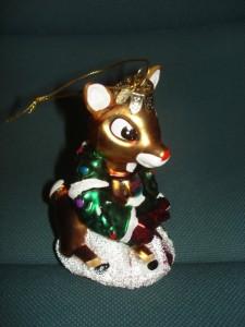 NEW Kurt Adler Glass Rudolph Reindeer Ornament NIB
