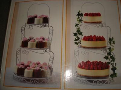 3 tier wedding cake stand wilton dessert cupcake tree display scrollwork elegant ebay. Black Bedroom Furniture Sets. Home Design Ideas