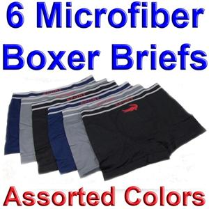 6-Mens-MICROFIBER-BOXER-BRIEFS-Underwear-3264-ALLIGATOR