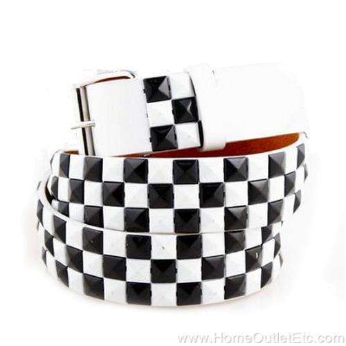 3-Row-Metal-Pyramid-Studded-Leather-Belt-2-Tone-Checker-Punk-Rock-Goth-Emo-White