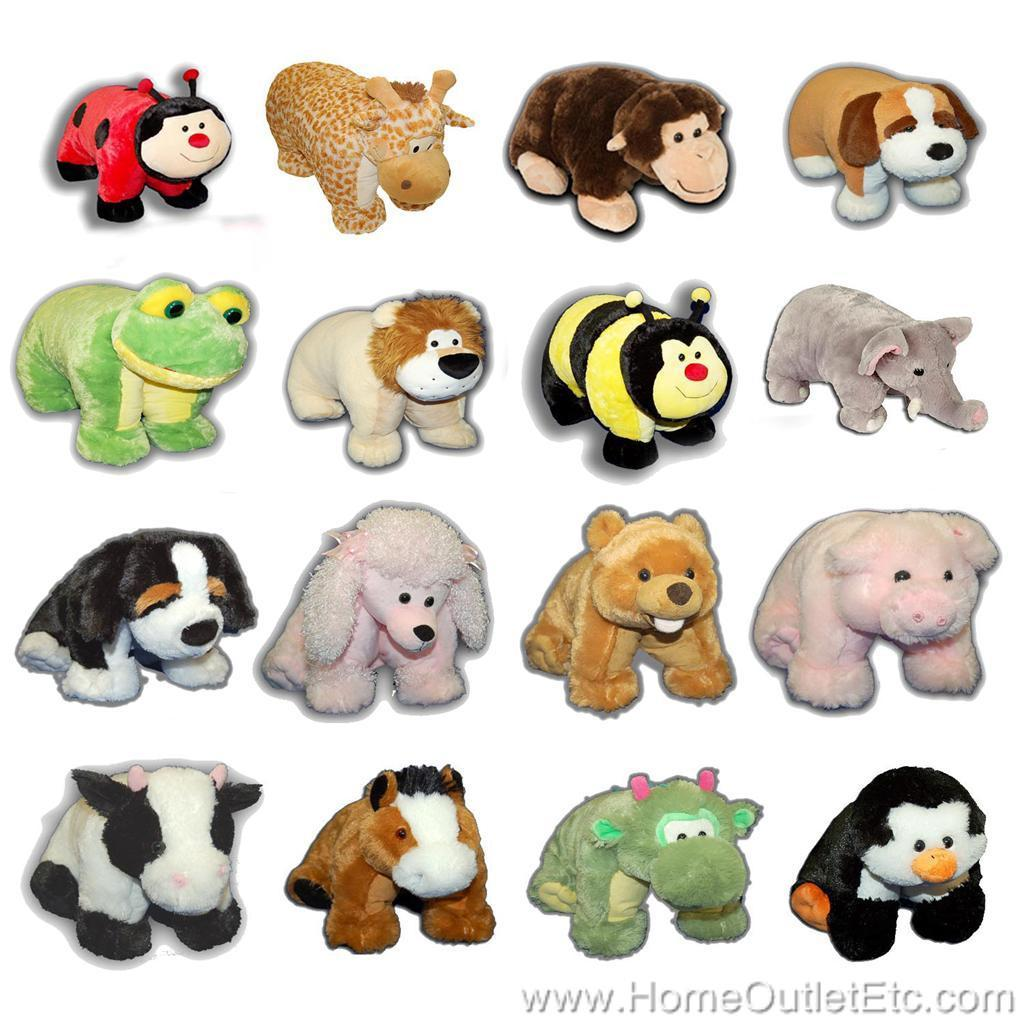 Animal Snuggle Pillows : The Authentic Pillow Chums Cuddly Plush Foldable Cuddle Pet Stuffed Animal 9.5