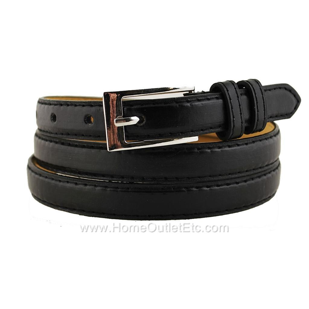 plain leather belt with stitched edge solid