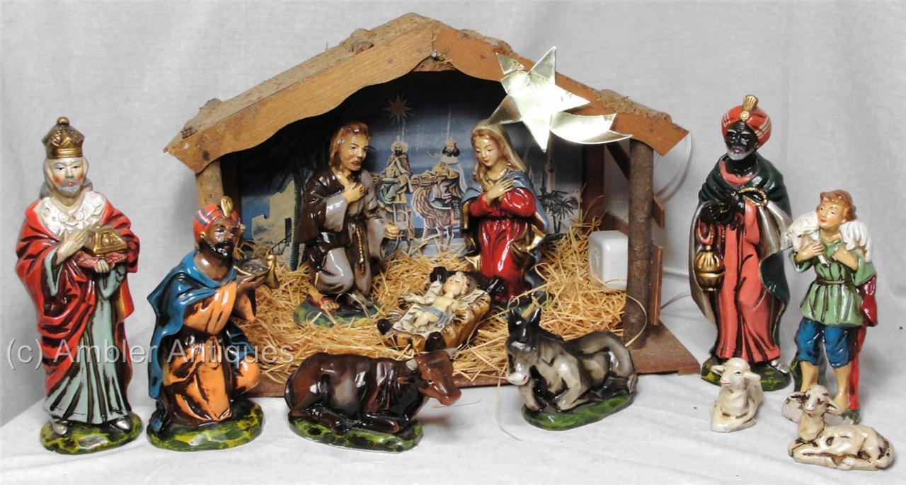 Nativity Lge Figures Japan Paper Papier Mache BOX Sears ...