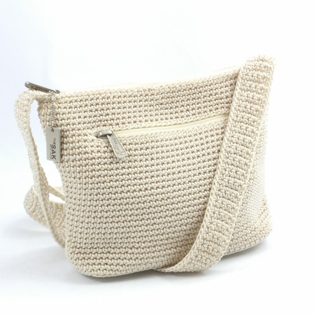 Crochet Shoulder Bag : Details about the Sak off white Crochet shoulder Bag Handbag preowned