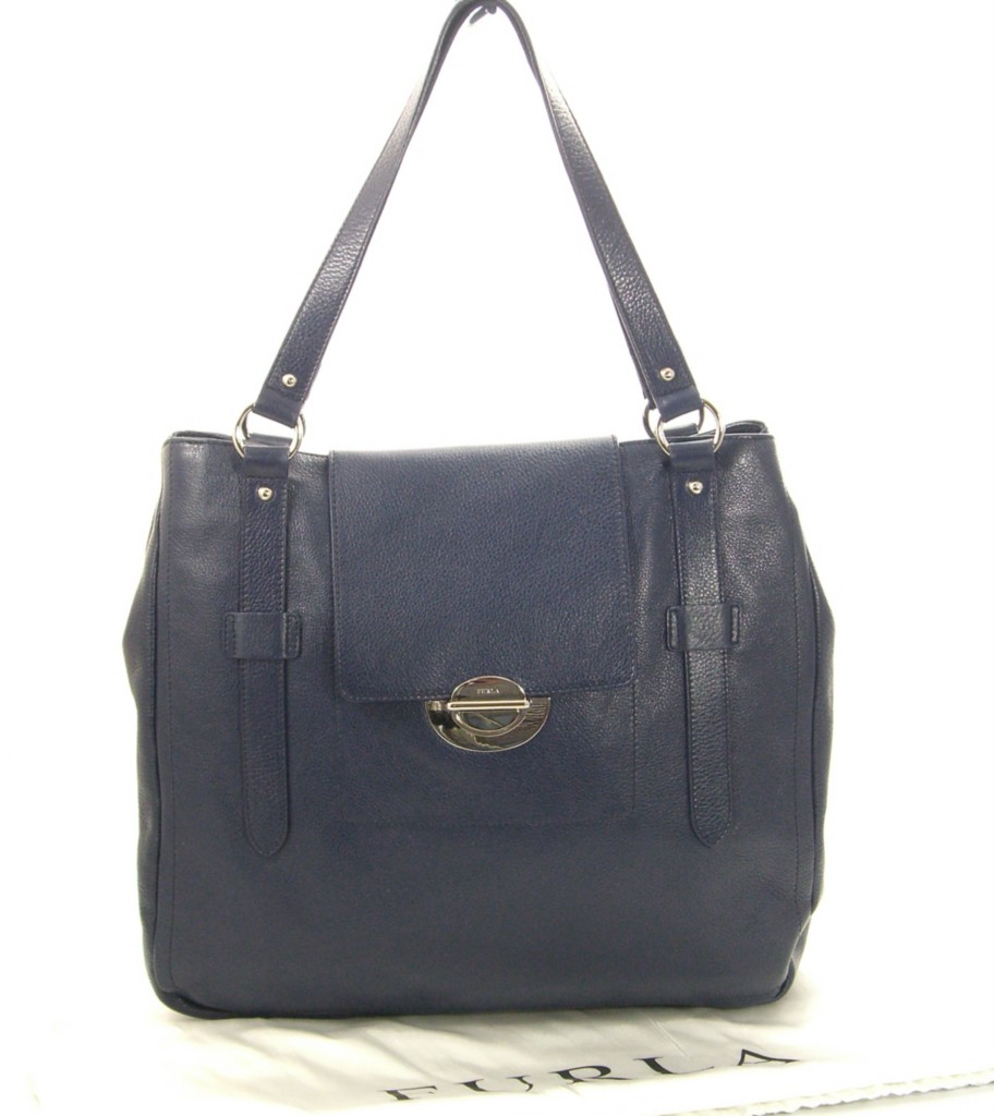 Details about Furla Elektra Navy Blue leather Tote Handbag NEW