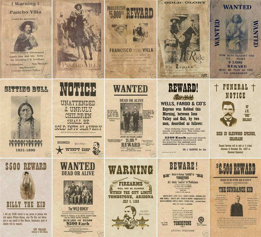 Old Wanted Posters and Wild West from W3 – Real Wanted Poster