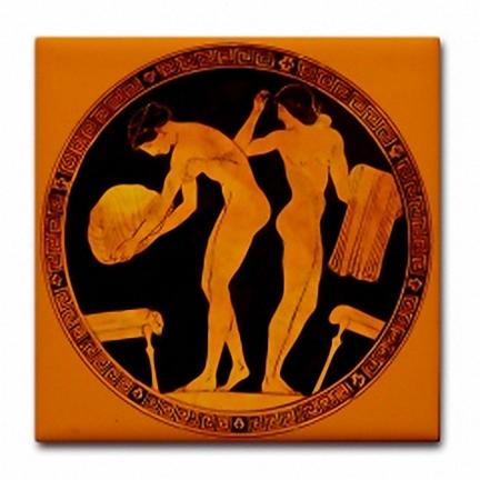 Ancient Greek Art Image Repro Ceramic Tile Bath 2 Ad
