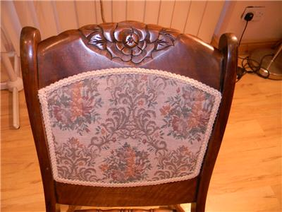 Details about rocking mahogany victorian nursing folding chair